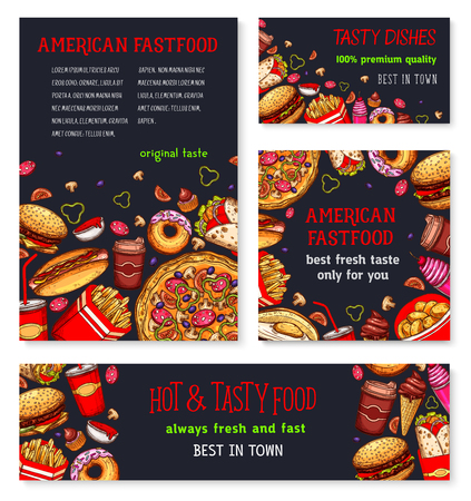 Fast food meal for restaurant banner template Illustration