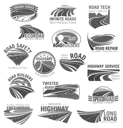 Asphalt road, highway and speed freeway symbol set Illustration