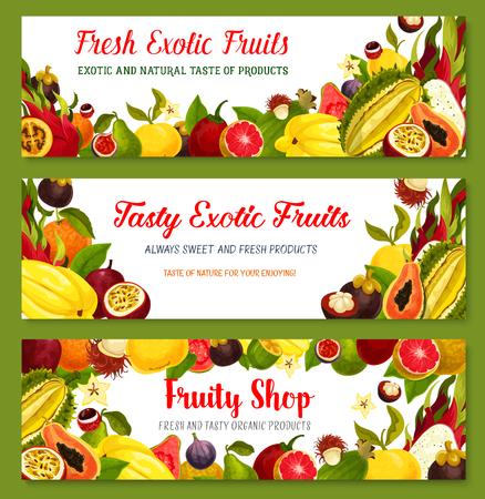 Exotische tropische fruitkader en grensbannersreeks Stock Illustratie