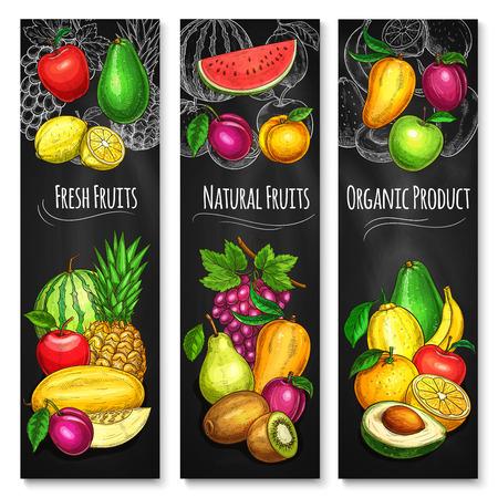 Tropical and garden fruit chalkboard banner set Ilustração