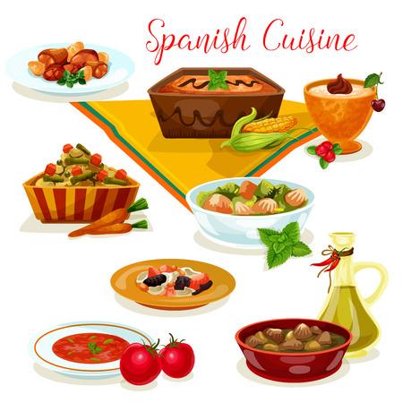 Cuisine espagnole savoureux menu de diner icône de dessin animé Vecteurs