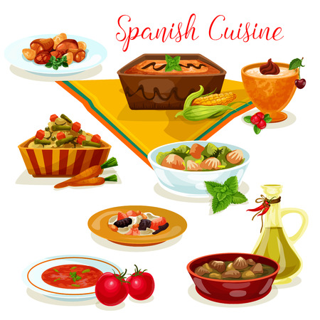 Spanish cuisine tasty dinner menu cartoon icon Illustration