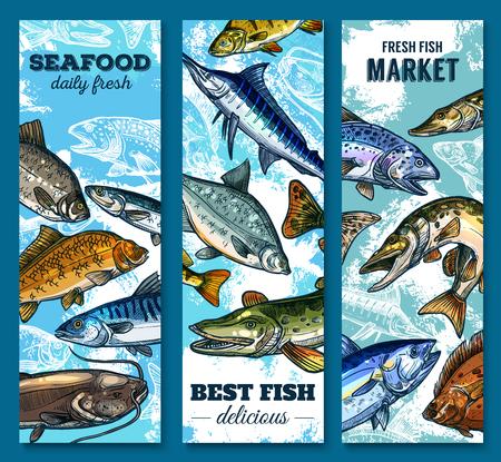 Verse zeevruchten en vismarkt schets banner set Stock Illustratie