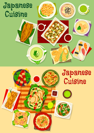 Japanese cuisine icon set for asian food design