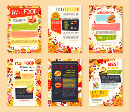 ice: Fast food meal and drink banner template set Illustration