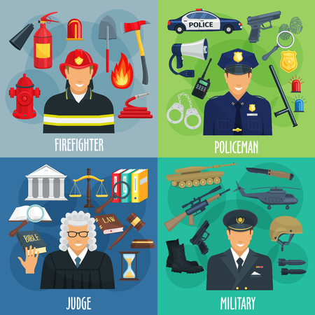 Policeman, firefighter, military, judge icon set