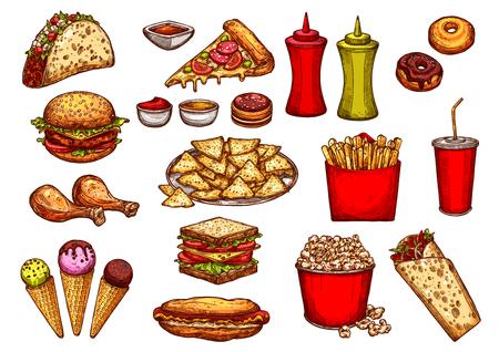 Fast food burger, drink and dessert sketch set Illustration
