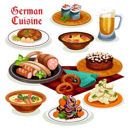 Deutsche Küche Abendessen mit Bier- und Wurst-Ikone Standard-Bild - 83982302