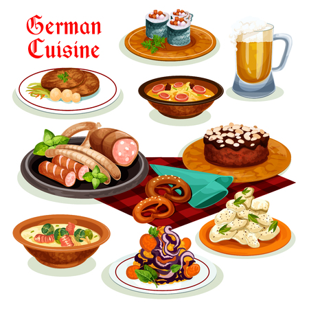 German cuisine dinner with beer and sausage icon Illustration