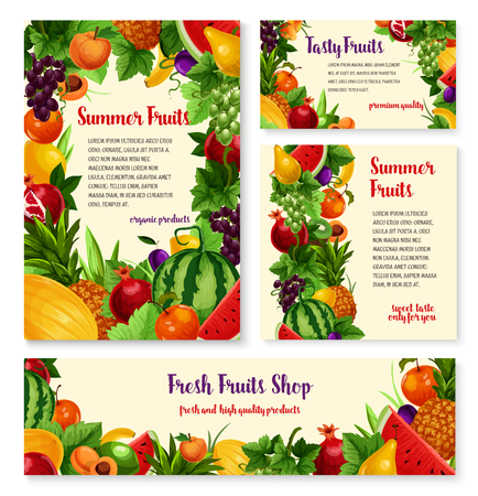 Fruit and fresh berry banner template set design