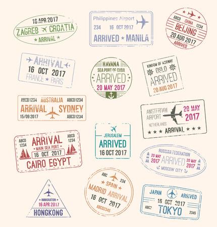Sello de pasaporte de la visa de viaje para el diseño de turismo