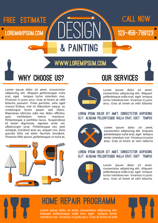 roller brush: Home repair and painting poster template design