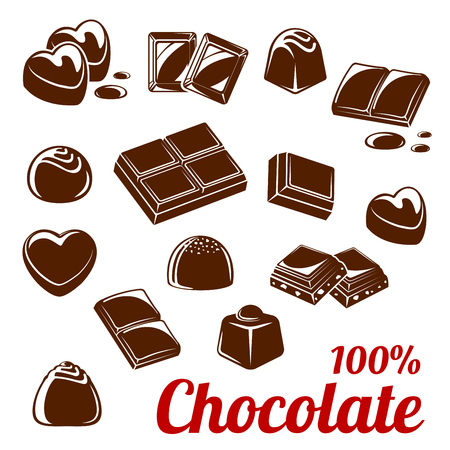 Chocolate bar and candy icon set for food design 免版税图像 - 83982310