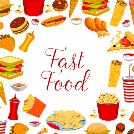 ice: Fast food restaurant meal frame poster design