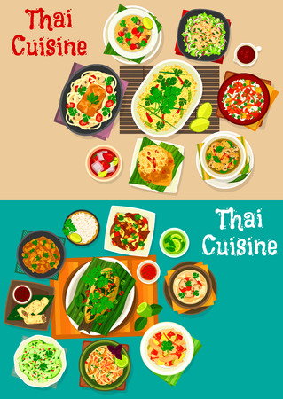 Thai cuisine icon set with traditional asian food