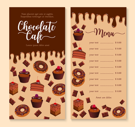 초콜릿 케이크와 디저트 메뉴 템플릿 디자인