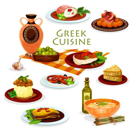 Cocina griega icono de dibujos animados de platos de almuerzo saludable Foto de archivo - 83982336