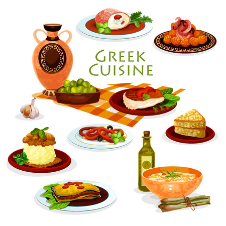 Greek cuisine healthy lunch dishes cartoon icon Illustration