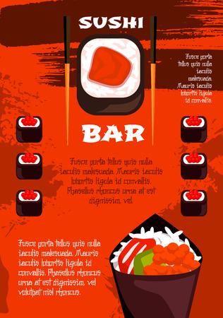 Sushi bar poster template, japanese cuisine design