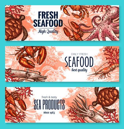 De schetsbanner van het zeevruchtenproduct die voor voedselontwerp wordt geplaatst
