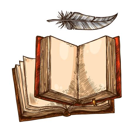Open boek en veren pen schets met kopie ruimte