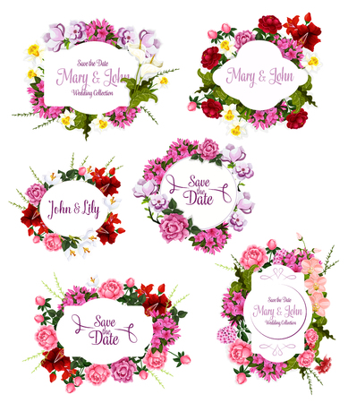 Wedding invitation Save the Date floral frame set. Flower bouquet of rose, peony, lily, orchid, narcissus, crocus, phlox, calla with decorative badge and copy space in center for greeting card design Illustration
