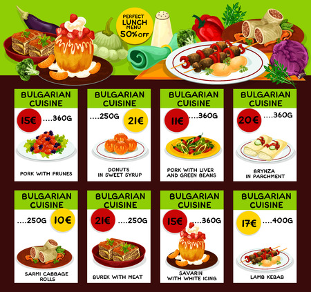 Bulgarian cuisine restaurant lunch menu for special offer brochure template. Ilustração