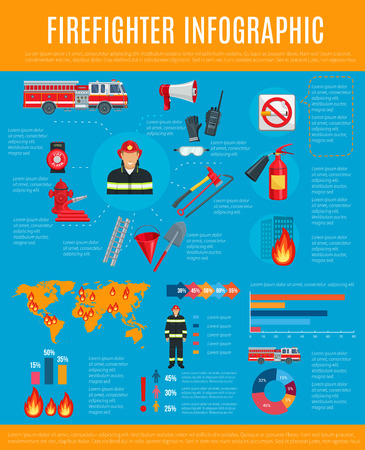 Firefighter infographic with fireman and equipment