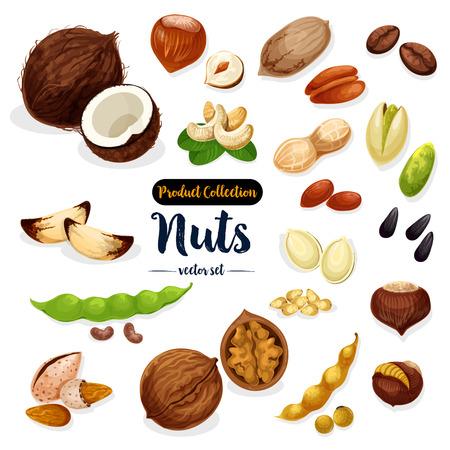 Noten, zaad, bonen cartoon pictogrammenset voor voedsel ontwerp Stock Illustratie