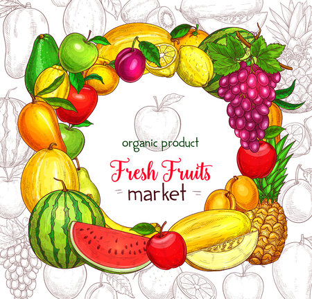 Fruit frame border for food market poster. Apple, lemon, orange, banana and pear, mango, grape and pineapple, peach, watermelon, plum and melon, avocado, kiwi and apricot sketches Imagens - 83982246
