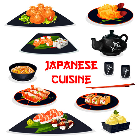 Japanese cuisine healthy dishes for lunch cartoon icon.