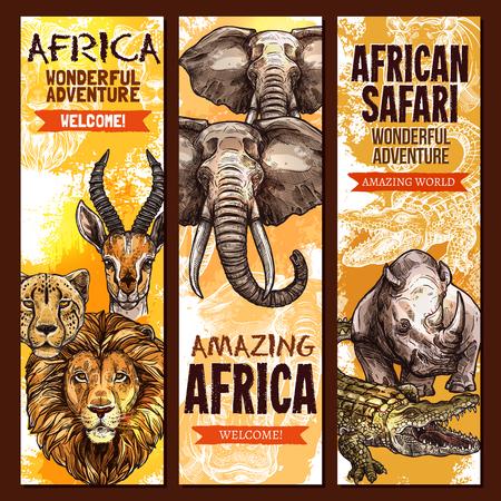 아프리카 사파리 야생 동물, 야외 모험 배너를 설정합니다.