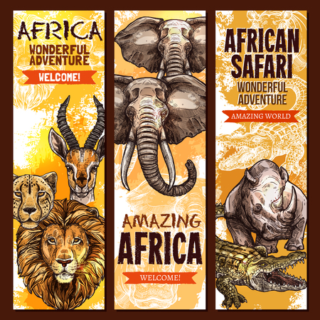 African safari wild animal, outdoor adventure banner set.