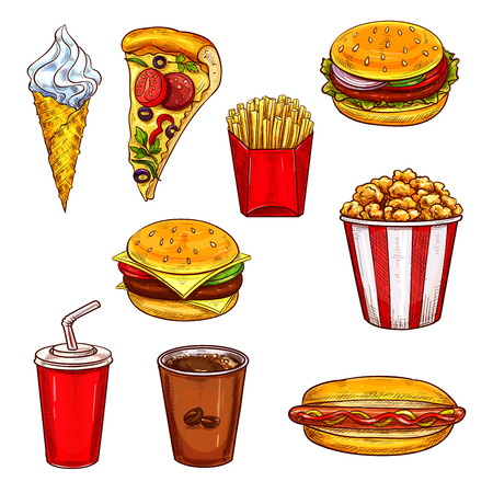 hot dog: Fast food lunch sketch set with burger, drink and dessert.