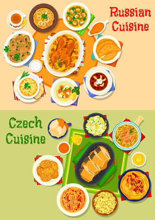 Russian cuisine icon set.
