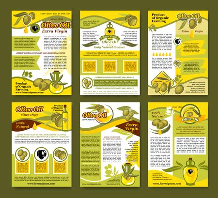 Olivenöl Bio-Lebensmittel Poster Vorlage Set Standard-Bild - 83982126