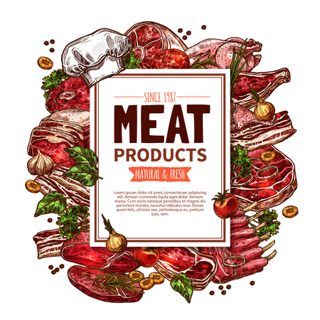 Manifesto di macelleria di prodotti a base di carne. Archivio Fotografico - 83982132
