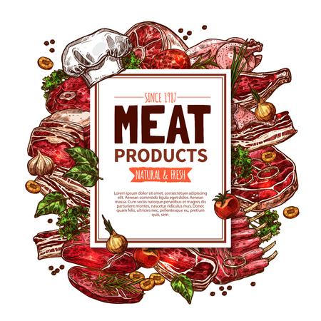 Meat product butcher shop poster. Illustration