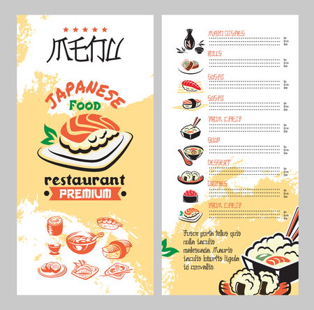 Asian cuisine restaurant menu template. Illustration
