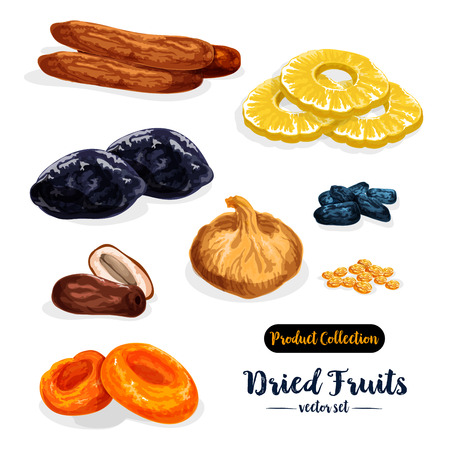Dried fruit cartoon icon set.