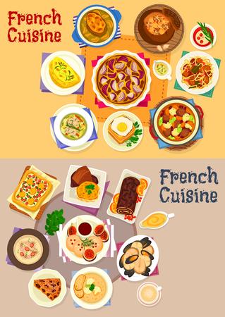 Platos de la cocina francesa para el conjunto de iconos de menú de almuerzo Foto de archivo - 84011132