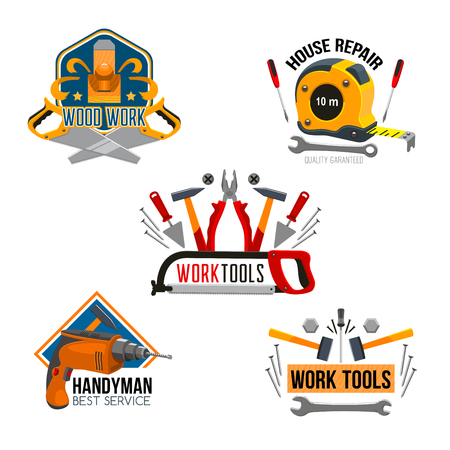 Work tool for house repair isolated symbol set Ilustrace