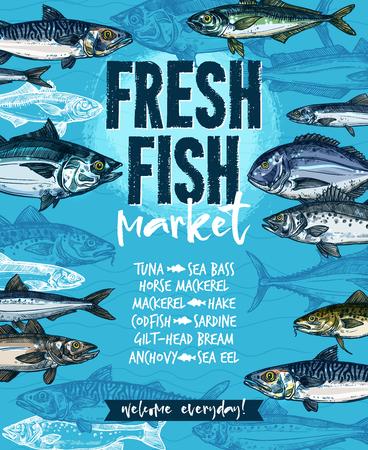 Verse vis banner voor zeevruchten markt sjabloon