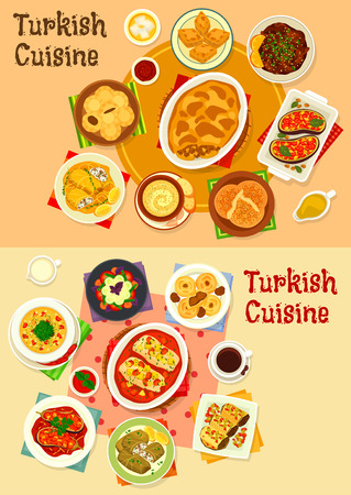 Turkish cuisine dinner with delight icon set Illustration