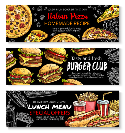 Fast food menu special offer chalkboard banner set Vectores