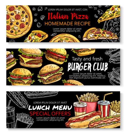 Fast food menu special offer chalkboard banner set Vettoriali