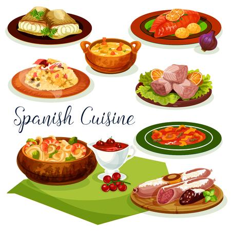 스페인어 요리 저녁 메뉴 만화 아이콘 디자인