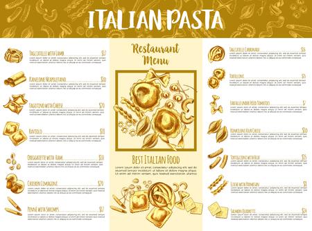레스토랑 디자인을위한 이탈리안 파스타 메뉴 템플릿