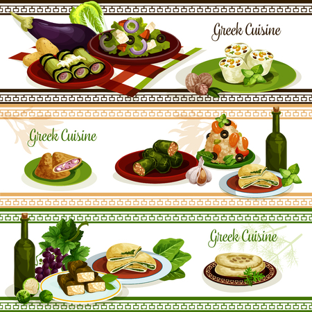 Greek cuisine national dishes, menu banner set Иллюстрация