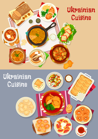 Ukrainian cuisine restaurant dinner icon set design